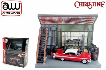 AUTO WORLD | CHRISTINE EVIL PLYMOUTH FURY 1958 & GARAGE DIORAMA | 1:64