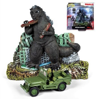 JONNY LIGHTNING | GODZILLA 'GROUND ASSAULT!' DIORAMA WITH WILLYS MB JEEP | 1:64