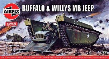 AIRFIX VINTAGE CLASSICS | BUFFALO AMPHIBIAN LVT & JEEP WWII | 1:76