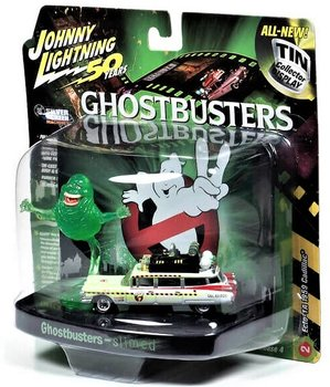 JOHNNY LIGHTNING | GHOSTBUSTERS CADILLAC ECTO-1A SLIMED WHIT SLIMER FIGURE | 1:64