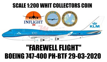INFLIGHT200 | KLM FAREWELL FLIGHT BOEING 747-400 KLM PH-BFT WHIT STAND AND COLLECTORS COIN | 1:200