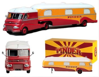 DIREKT COLLECTIONS | PINDER CIRCUS FORD F798W MET WOONTRAILER 'CHEF MONTEUR' 1955 | 1:43
