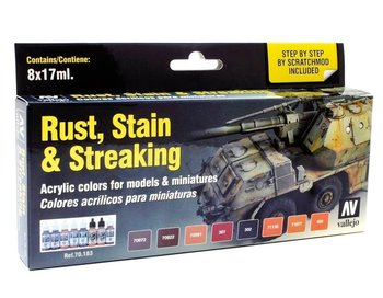 VALLEJO - ACRYLIC 8 VERF SET 'RUST, STAIN & STREAKING' - 17ML
