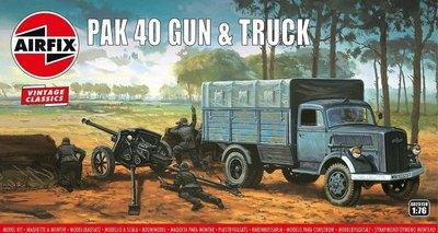 AIRFIX VINTAGE CLASSICS   PAK 40 GUN & TRUCK OPEL BLITZ   1:76