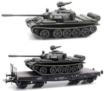 ARTITEC | T-55A NVA EISENBAHNTRANSPORT DDR (READY MADE) | 1:87