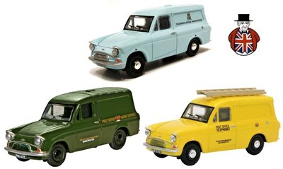 OXFORD DIECAST   FORD ANGLIA VAN 3 SET 'POST/TELEPHONES/TELEVISION' 1962   1:43