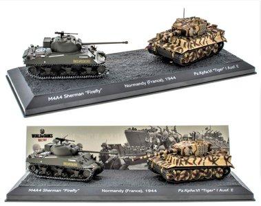 EDICOLA | THE BATTLE OF NORMANDY (FRANCE) TANK SET 1944 M4A4 'SHERMAN' VS Pz.Kpfw.VI 'TIGER I' | 1:72