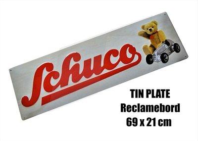 SCHUCO | TIN PLATE SCHUCO & TEDDY BEAR NOSTALGISCH DECO RECLAMEBORD | 69X21
