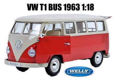 WELLY | VOLKSWAGEN T1 BUS 1963 ROOD/CREME | 1:18