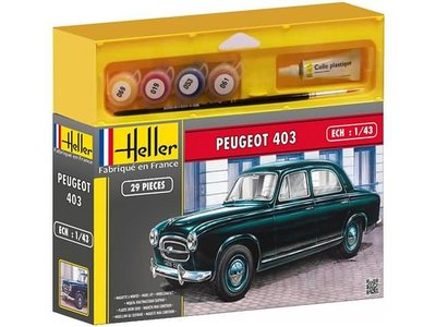 HELLER   PEUGEOT 403 CLASSIC 1955 GIFT SET (PLASTIC MODELBOUW)   1:43