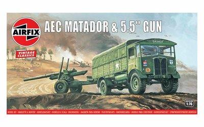 AIRFIX CLASSICS | AEC MATADOR & 5.5 INCH GUN (VINTAGE CLASSICS) | 1:76