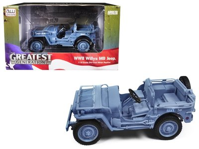 AUTO WORLD | WILLYS MB JEEP 'NAVY' WWII (BLUE GRAY) 1941 | 1:18