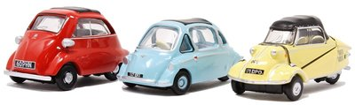 OXFORD DIECAST | 3 PEACE SET BUBBLE CAR 'BMW HEINKEL MESSERSCHMITT' | 1:76