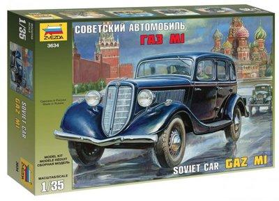 ZVEZDA | GAZ M1 SOVIET CAR (PLASTIC MODELBOUWDOOS) | 1:35