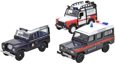 OXFORD DIECAST | LAND ROVER 3 SET 'HONG KONG POLICE' | 1:76